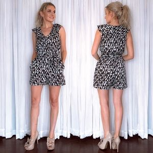 BCBG Patterned Romper with Pockets